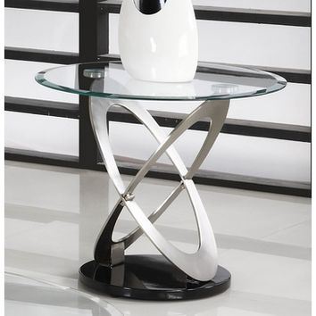 Homelegance Firth Round Glass End Table in Chrome & Black Metal
