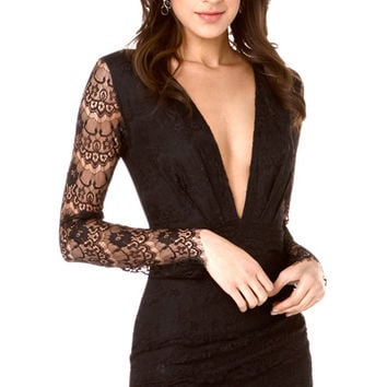 Black Long Sleeve Backless with Deep V-Neck Eyelash Lace Mini Dress