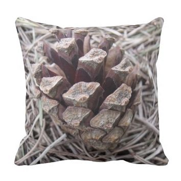 Pine Cone And Pine Needles Pillow