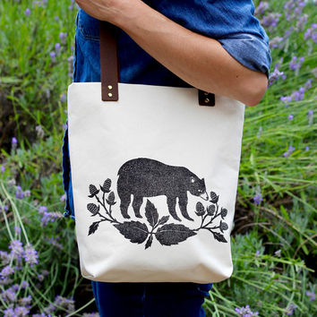 Printed Canvas Tote Bag | Leather Straps | Bear Tote Bag | Market Bag | Book Bag | Totebag | Handbag | Leather and Canvas Bag | Mama Bear