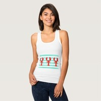 Turquoise white nautical stripes and red lobsters tank top