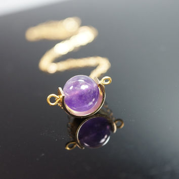 Amethyst Tiny Gold Silver Geometrical Galaxy Cresent Moon Globe Necklace