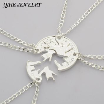 QIHE JEWELRY 4pcs/set Best Friend BFF Friendship Necklace I Love You Hand Sign Cut Coin Puzzle Jewelry Creativity Personality