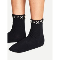 Metal Star Detail Ankle Socks