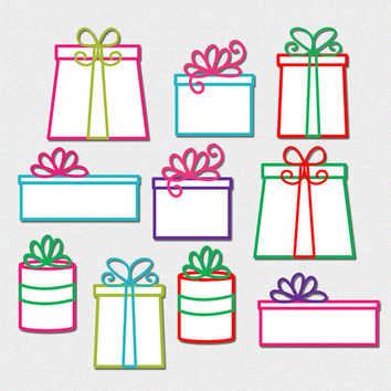 colorful gift clipart, christmas clip art, scrapbooking supplies, birthday present clipart DIGITAL DOWNLOAD CA-254