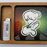 Mickey Grinding Weed Rolling Tray Manufactured and Printed In California