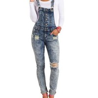 Destroyed Acid Wash Denim Overalls - Acid Wash Denim