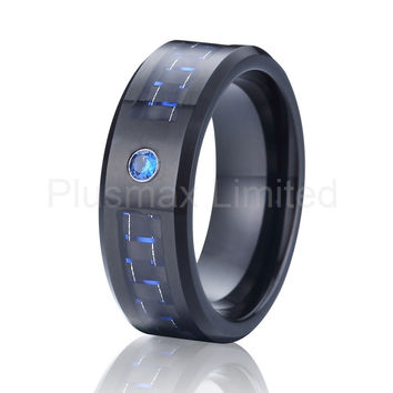 black and blue carbon fiber alliance cz diamond stone wedding band tungsten carbide ring for men - Mens Black Diamond Wedding Ring