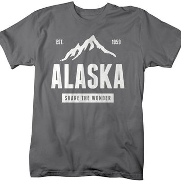 Men's Alaska State Pride T-Shirt Mountains Share Wonder Tee Shirts For Alaskans Vacation