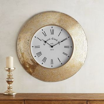 Golden Mosaic Wall Clock