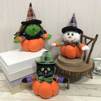 3 Style Lovely Pumpkin Witch Ghost Black Cat Plush Doll with Stocking Cap for Halloween Parties Dancing Hall Mall Decoration