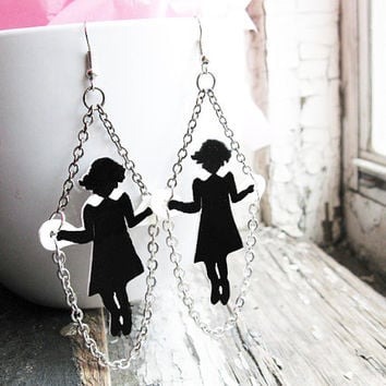 Dangle Earrings Christmas Gift Idea Little Girls Skipping Black Silhouette Jumping Rope Christmas Gift