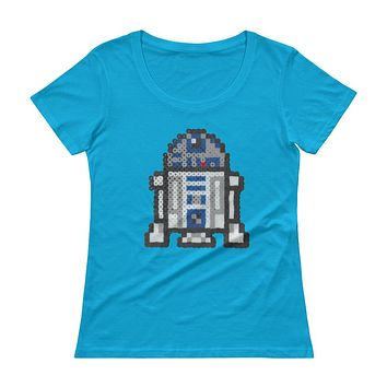 R2-D2 Perler Art Ladies' Scoopneck T-Shirt by Aubrey Silva