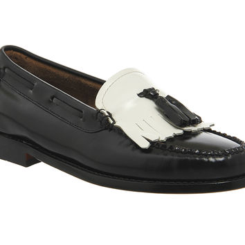 G.H Bass Kiltie Moc Loafers Black White Leather - Flats