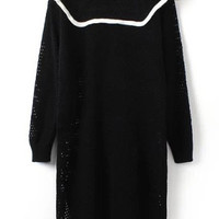 Black Round Neckline Frilled Knit Sweater