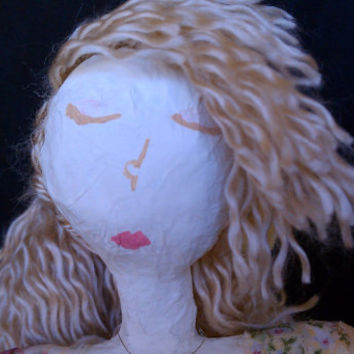Lilly-Ann - OOAK Mixed Media Art Doll Made from Recycled Material