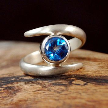 Sterling Silver Satin Finish Ring with London Blue Topaz 8mm gemstone | anabenedicta - Jewelry on ArtFire