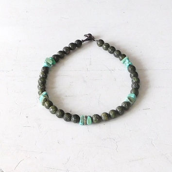 Hippie Anklet Turquoise Jewelry Green Anklet Jade Anklet Boho Jewelry Bohemian Anklet Sundance Style Beach Jewelry Surfer Style Sale
