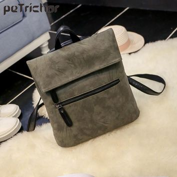Petrichor Women Backpacks Ladies PU Leather Bag Zipper Female School Shoulder Bags Teenage Girls College Student Vintage Bag