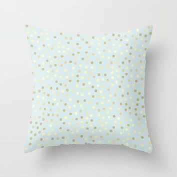 Pastel Blue Gold Polka Dots Throw Pillow Baby Blue Accent Pillow Light Blue Pillow Blue Bedroom Decor Pastel Blue Square Throw Pillow