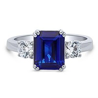 A Perfect 2.8CT Emerald Cut Blue Sapphire Engagement Ring