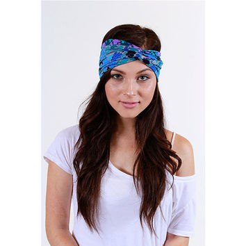 Geo Print Knit Turban Headbands in Blue and Purple Geometric Print womens hair accessories