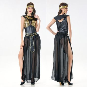 Deluxe Cleopatra Costume Sexy Women Ancient Egyptian Pharaoh Clothing Adult Halloween Party Cosplay Egypt Queen Long Dress