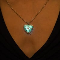 Aqua Glow Necklace - Glow in the Dark Necklace - Glowing Heart Locket - Turquoise Necklace - Glowing Necklace - Silver Necklace