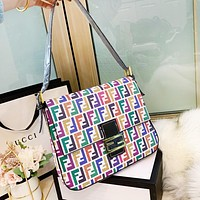 FENDI New Fashion Women Shopping Leather Canvas Crossbody Satchel Shoulder Bag