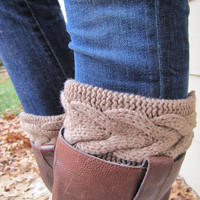 Boot Cuff- Brown Large Cable Knit