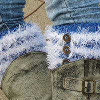 Blue White Short Square Knit Boot Cuffs with buttons. Beard, fur like, Short Leg Warmers. Crochet Boot Cuffs.