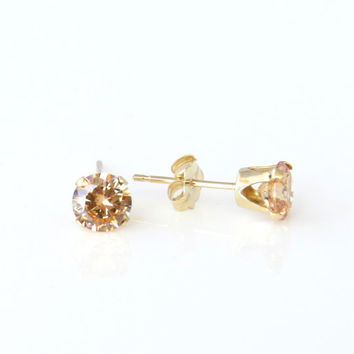 1/2 ctw, 4mm Round Stud Earrings, Champagne Yellow Man Made Diamond Simulant, 14k Yellow Gold Earrings, Bridal Earrings, Wedding Earrings