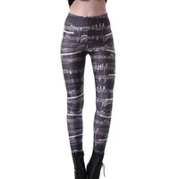 DCCKH6B Elastic Casual Pants 3D Digital Printing Note music Pattern Women Leggings 7 sizes Fitness Clothing Free Shipping