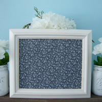 Magnetic Board, Floral Magnet Board, Memo Board, White Rustic Frame, Distressed, Vintage, Wall Decor, Bulletin Board, Framed Office Decor