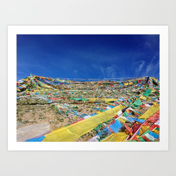 colorful prayer flags on the Tibetan mountain Art Print by Color And Color