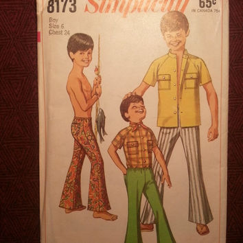 Uncut 1960's Simplicity Sewing Pattern, 8173! Size 6 Boys/Kids/Child/Pull On Bell Bottom Pants/T Shirts/Stand Up Collar Tops/Raglan Sleeves