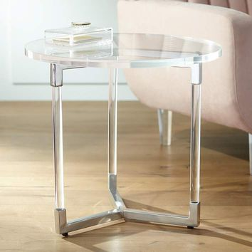 """Linda 22"""" Wide Clear Acrylic Round Modern Accent Table - #32X13 