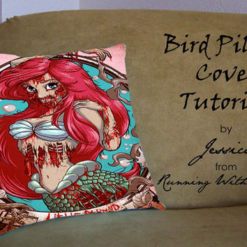 Zombie Ariel Cover - Pillow Case, Pillow Cover, Custom Pillow Case **