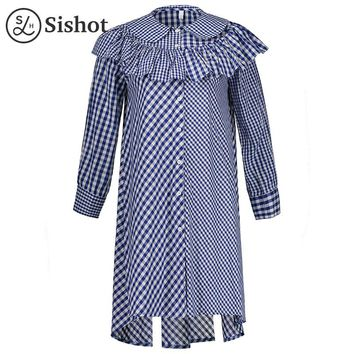 Women casual dresses fall blue plaids color block long sleeve peter pan collar autumn mid calf a line casual dress