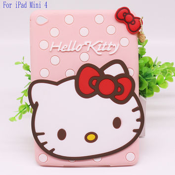 Free Shipping New 3D Cute Hello kitty Soft silicone Rubber Cases Cover For Apple ipad mini 4 Case For Ipad mini4