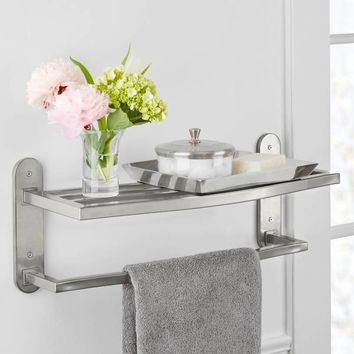 Grayson Bath Iron Wall Shelf with Towel Bar