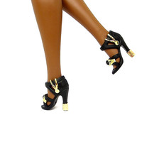 Barbie Doll Shoes - Black Doll Shoes with Gold Metal Designs