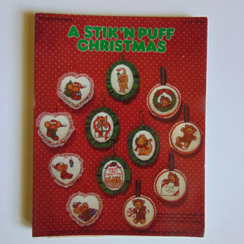 Vintage A Stik'N Puff Christmas Ornaments Cross Stitch Pattern and Instruction Leaflet 1982