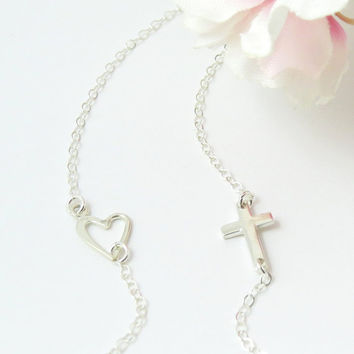 New Tiny Sideways Cross and Heart Necklace, Sterling Silver Cross and Heart on Silver chain, Love Necklace, Bridesmaid, Heart Necklace