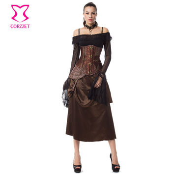 Vintage Floral Brocade and Leather Steel Boned Underbust Corset Dress Steampunk Clothing Burlesque Corsets and Bustiers Sexy