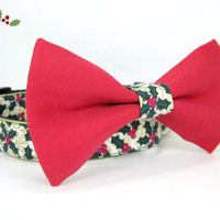 Christmas  Dog Collar with bow tie set  (Mini,X-Small,Small,Medium ,Large or X-Large Size)- Adjustable