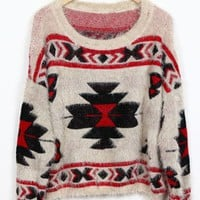 Geometric pattern round neck Bat-sleeved Beige sweater$42.00