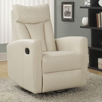 Ivory Bonded Leather Swivel Glider Recliner