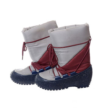Vintage 80s Moon Boots 1980s New Wave Mod Navy Blue Burgundy Gray Skiing Snowboard Party Apres After Ski Boots / Womens 7-8