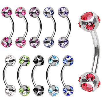 316L Surgical Steel Eyebrow Ring with Muti Glass/Gem Ball
